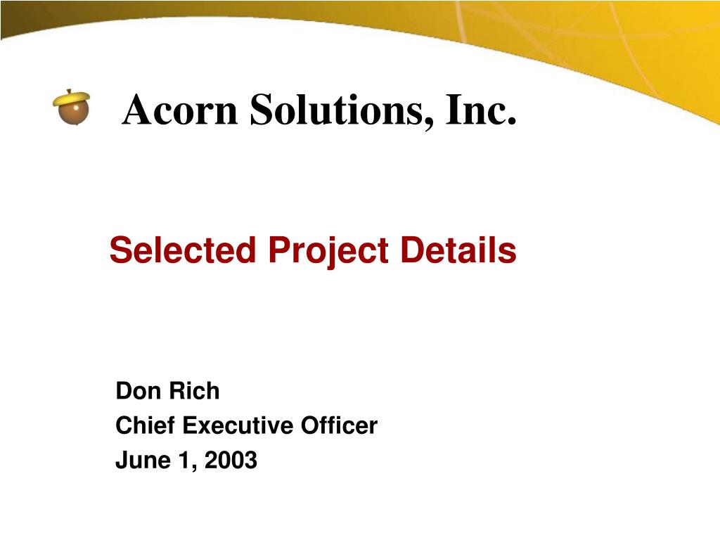 Selected Project Details