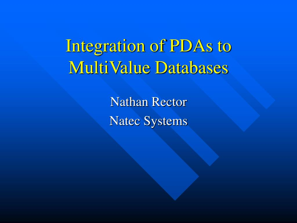 integration of pdas to multivalue databases l.