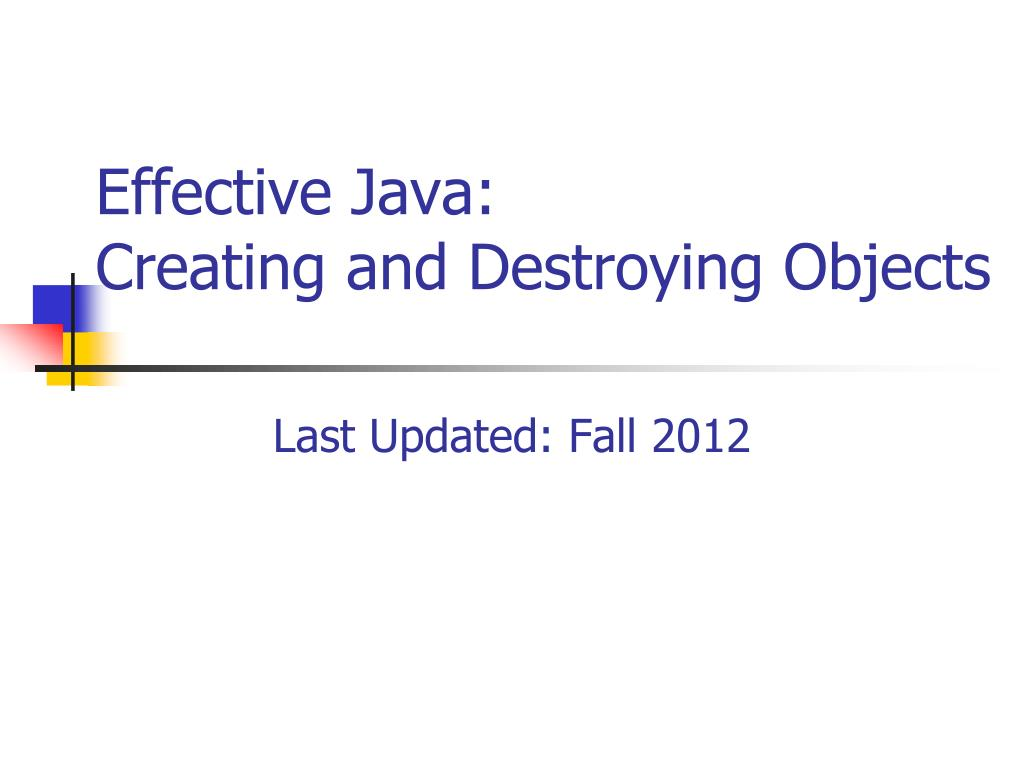 effective java creating and destroying objects l.