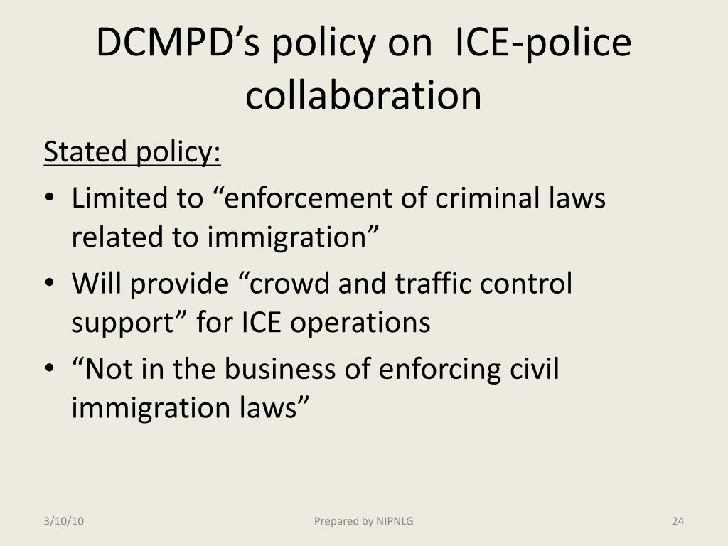 DCMPD's policy on  ICE-police collaboration