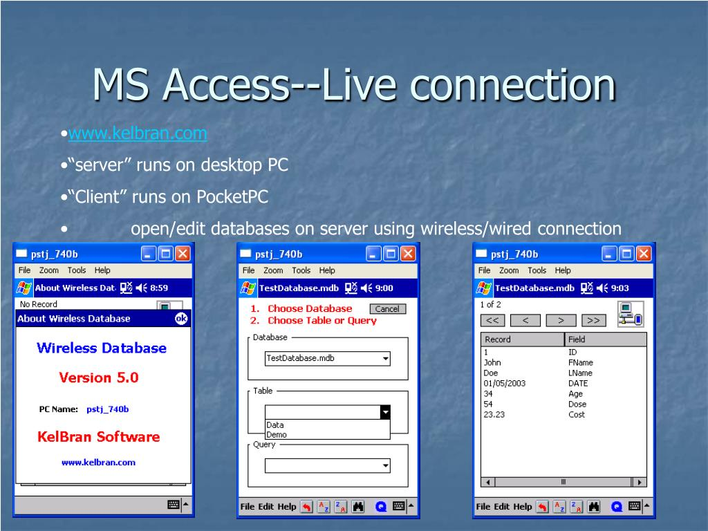 MS Access--Live connection