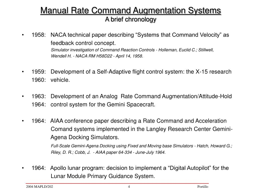 "1958:   NACA technical paper describing ""Systems that Command Velocity"" as"