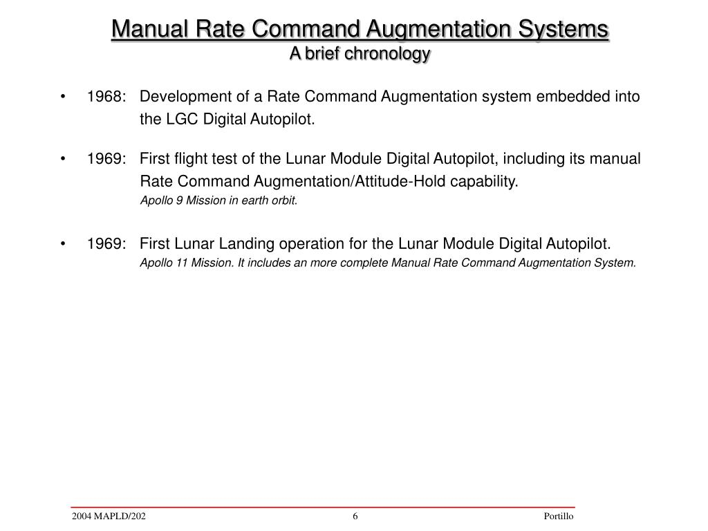 1968:   Development of a Rate Command Augmentation system embedded into
