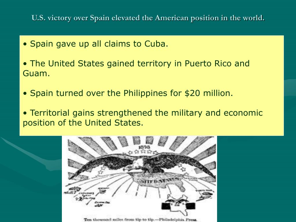 U.S. victory over Spain elevated the American position in the world.