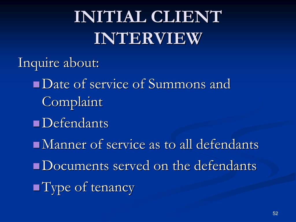 INITIAL CLIENT INTERVIEW
