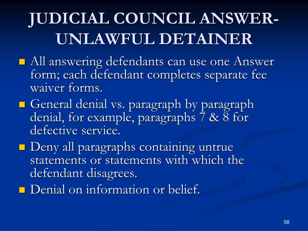 JUDICIAL COUNCIL ANSWER-UNLAWFUL DETAINER