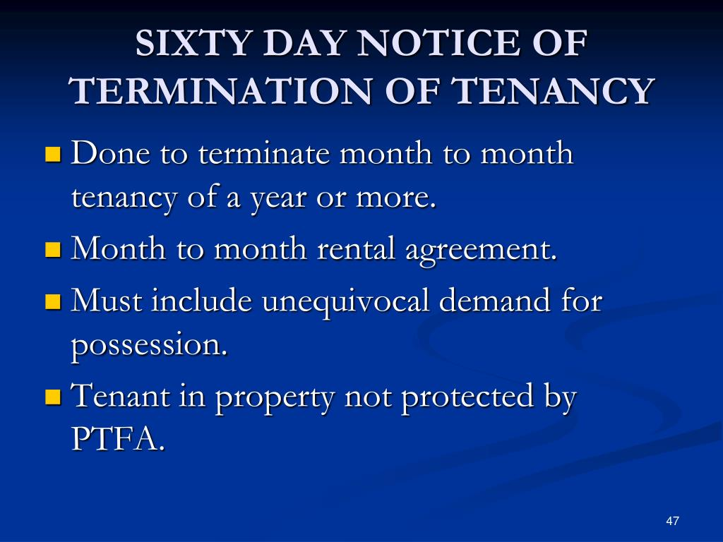 SIXTY DAY NOTICE OF TERMINATION OF TENANCY
