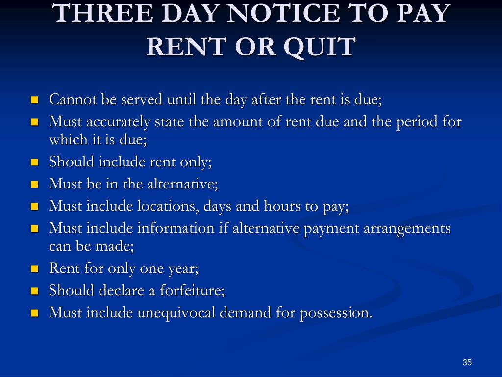 THREE DAY NOTICE TO PAY RENT OR QUIT
