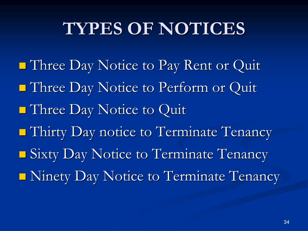 TYPES OF NOTICES