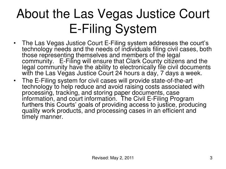 About the las vegas justice court e filing system