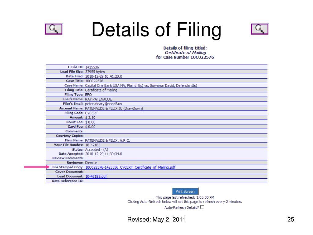 Details of Filing