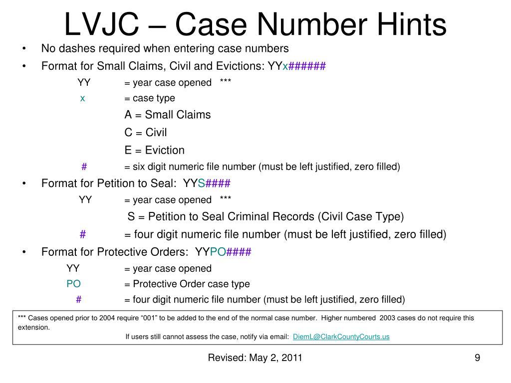 LVJC – Case Number Hints