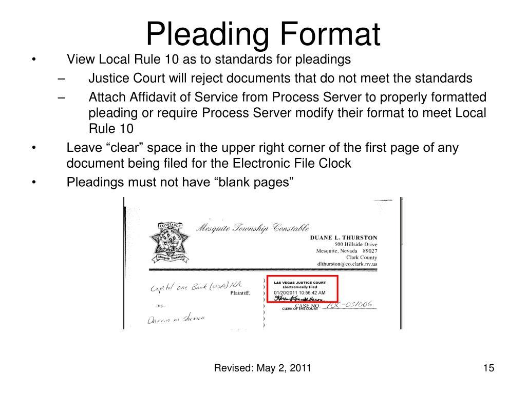 Pleading Format