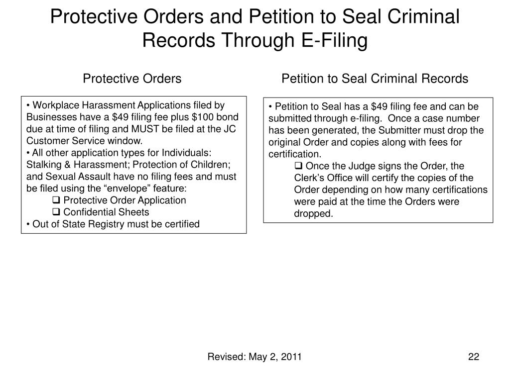 Protective Orders and Petition to Seal Criminal Records Through E-Filing
