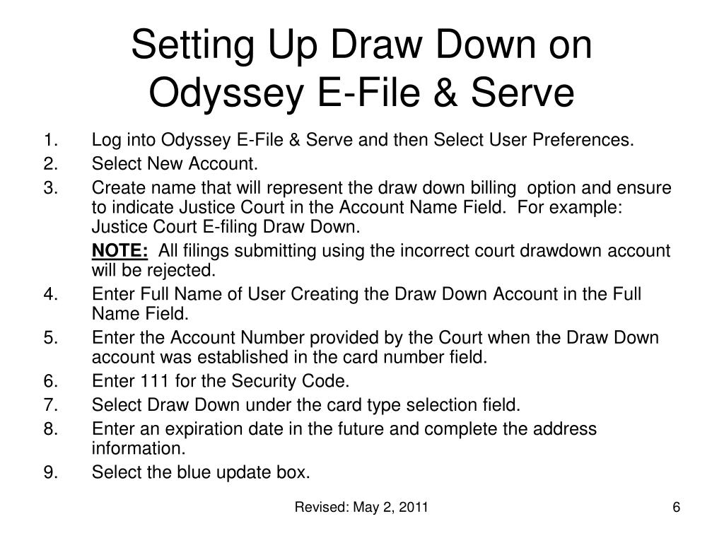 Setting Up Draw Down on