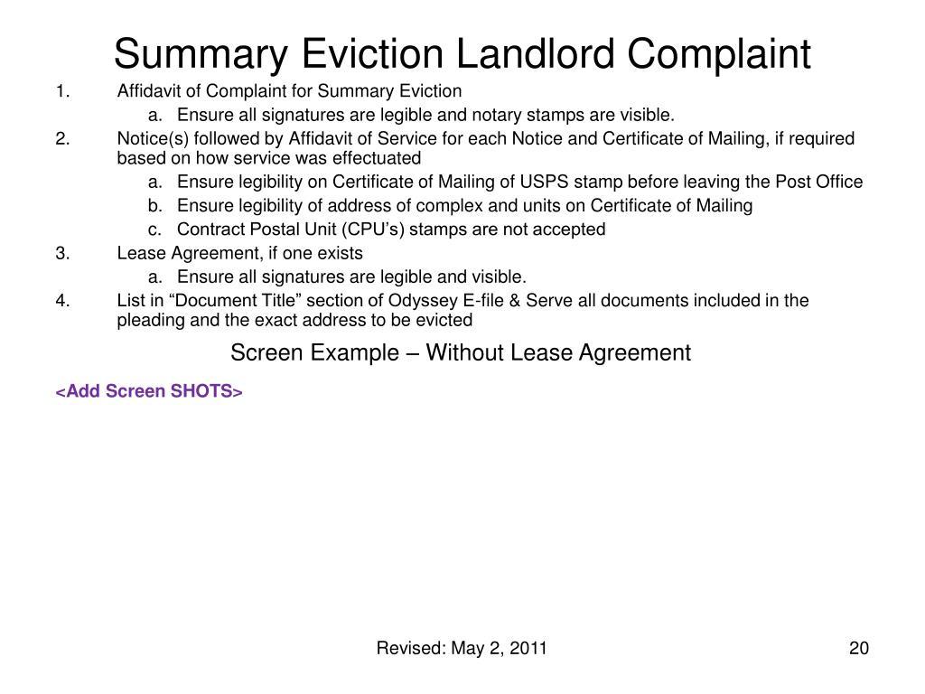 Summary Eviction Landlord Complaint
