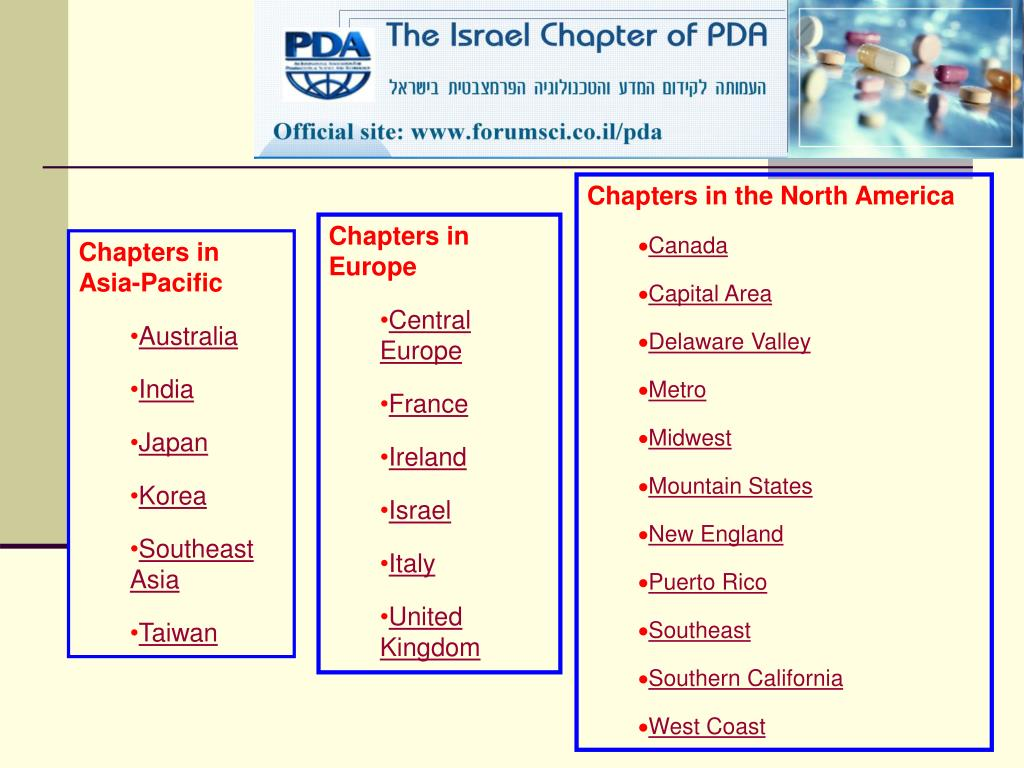 Chapters in the North America