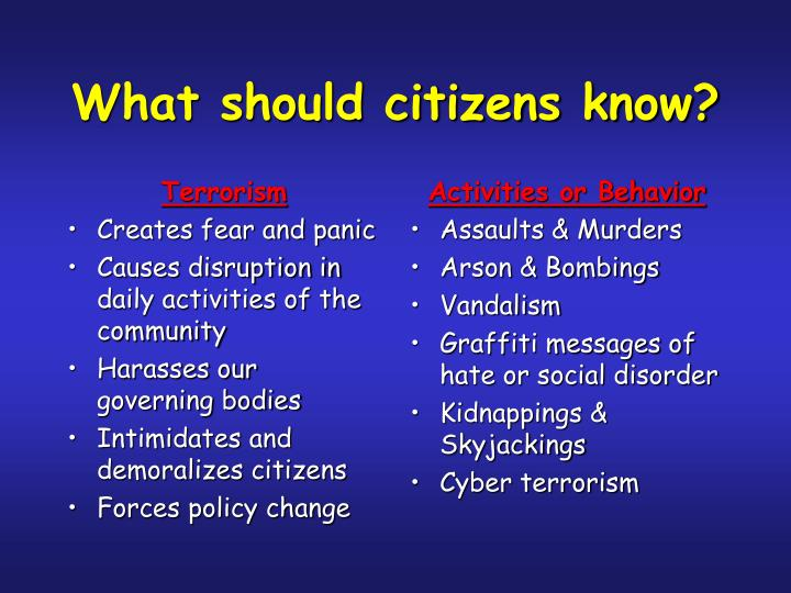 What should citizens know?