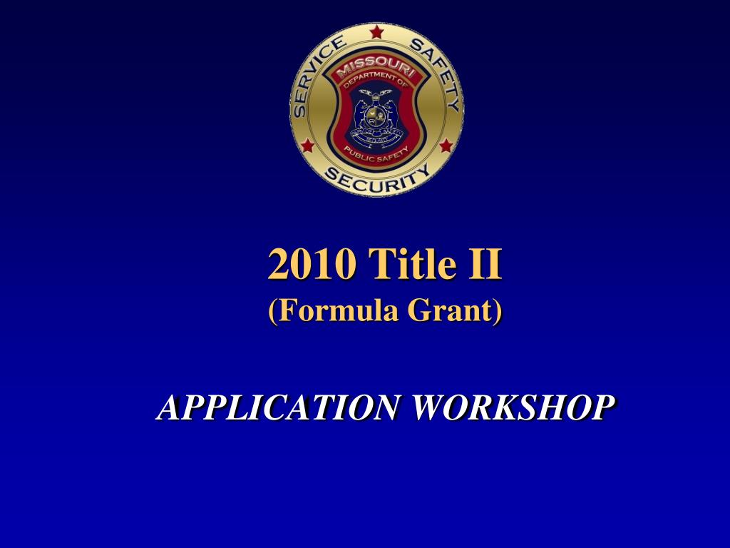 2010 title ii formula grant