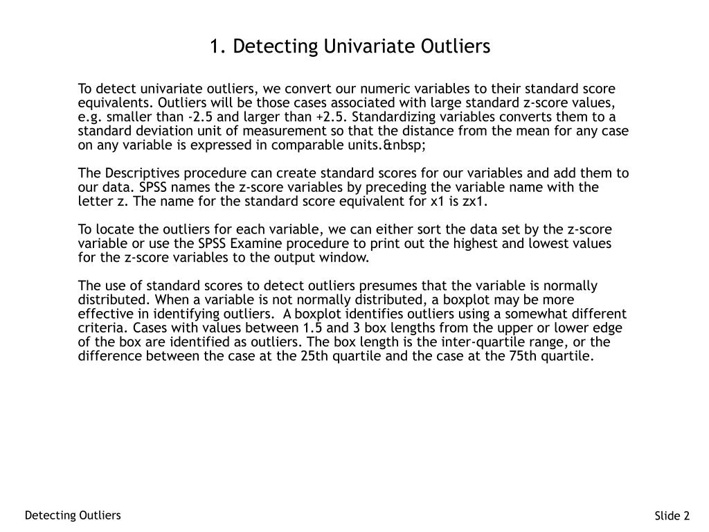 1. Detecting Univariate Outliers