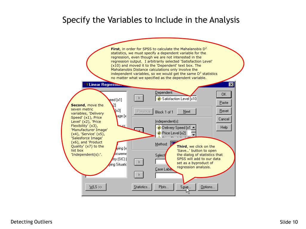 Specify the Variables to Include in the Analysis