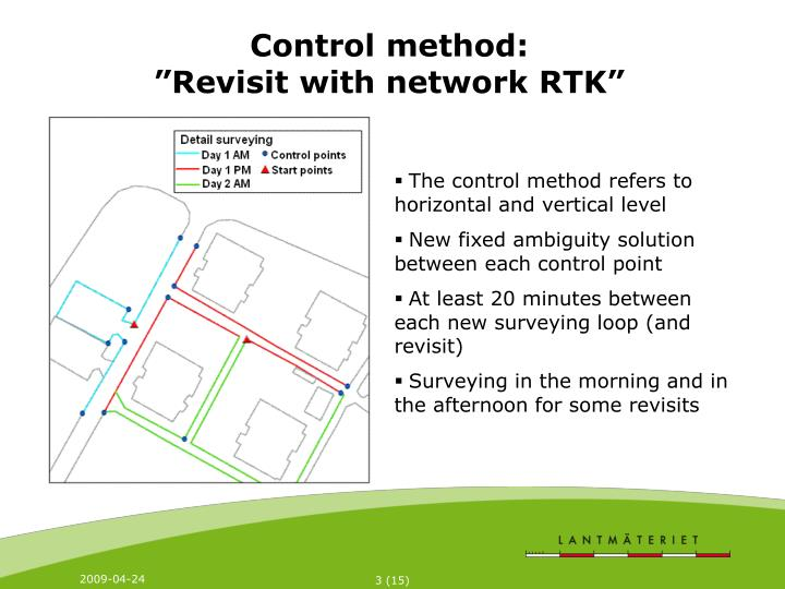 Control method revisit with network rtk