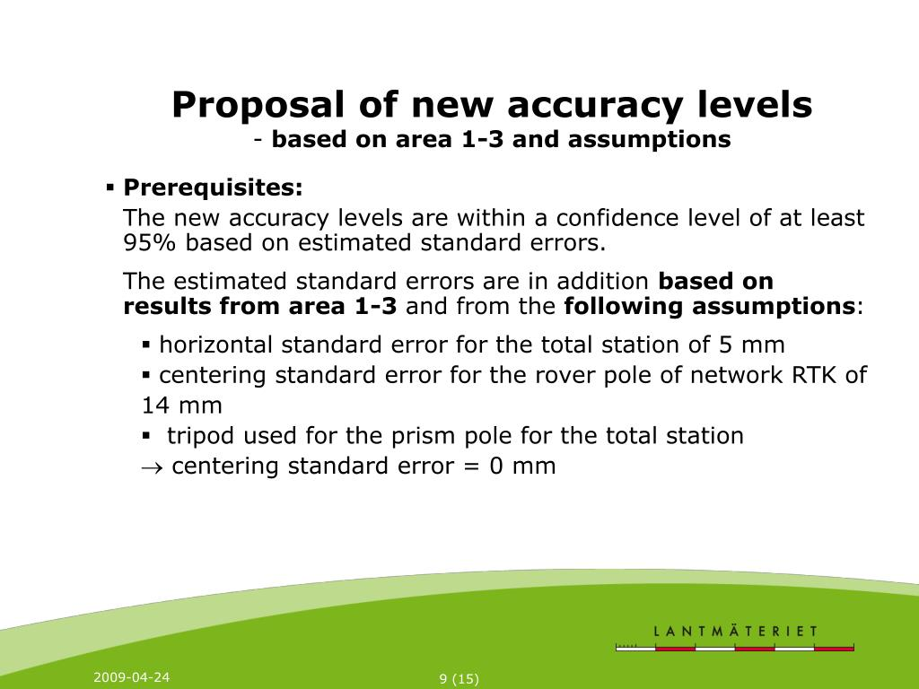 Proposal of new accuracy levels