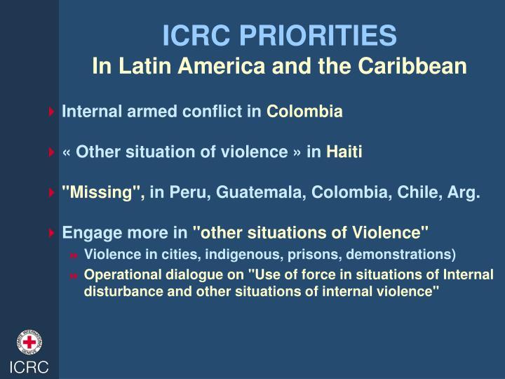 ICRC PRIORITIES
