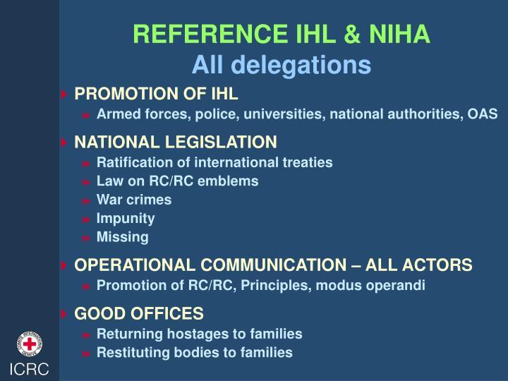 REFERENCE IHL & NIHA