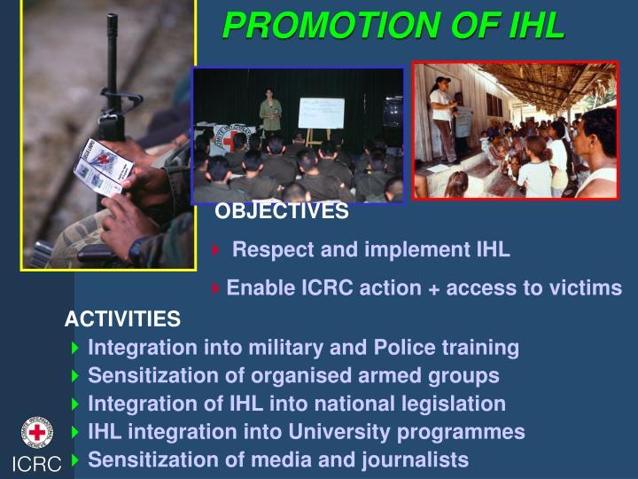 PROMOTION OF IHL