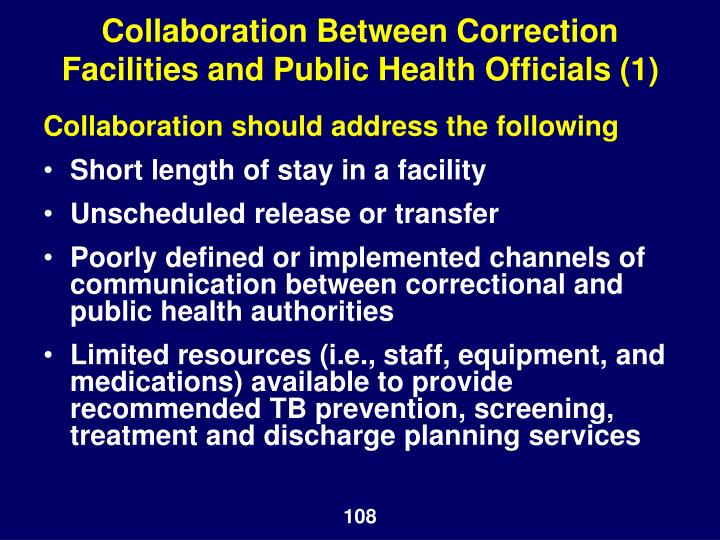 Collaboration Between Correction Facilities and Public Health Officials (1)