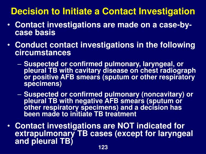 Decision to Initiate a Contact Investigation