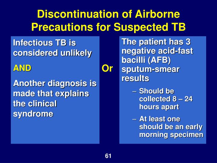 Infectious TB is considered unlikely