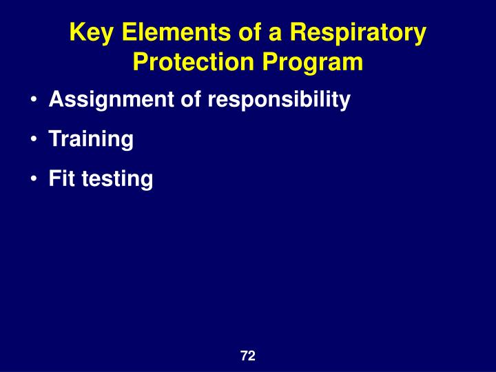 Key Elements of a Respiratory Protection Program
