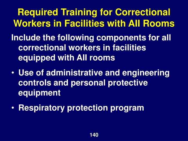 Required Training for Correctional Workers in Facilities with AII Rooms