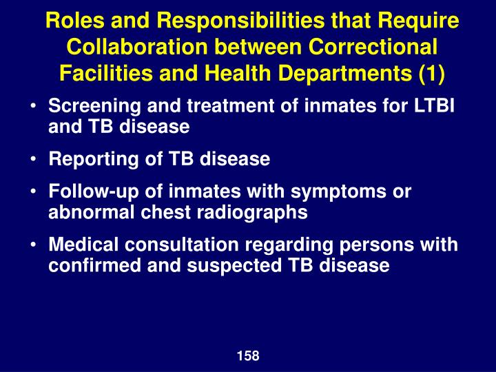Roles and Responsibilities that Require Collaboration between Correctional Facilities and Health Departments (1)