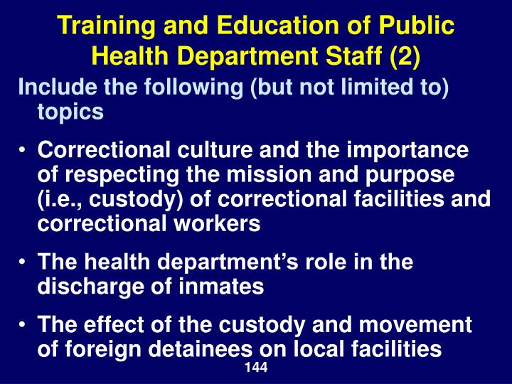 Training and Education of Public Health Department Staff (2)