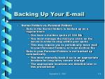 backing up your e mail