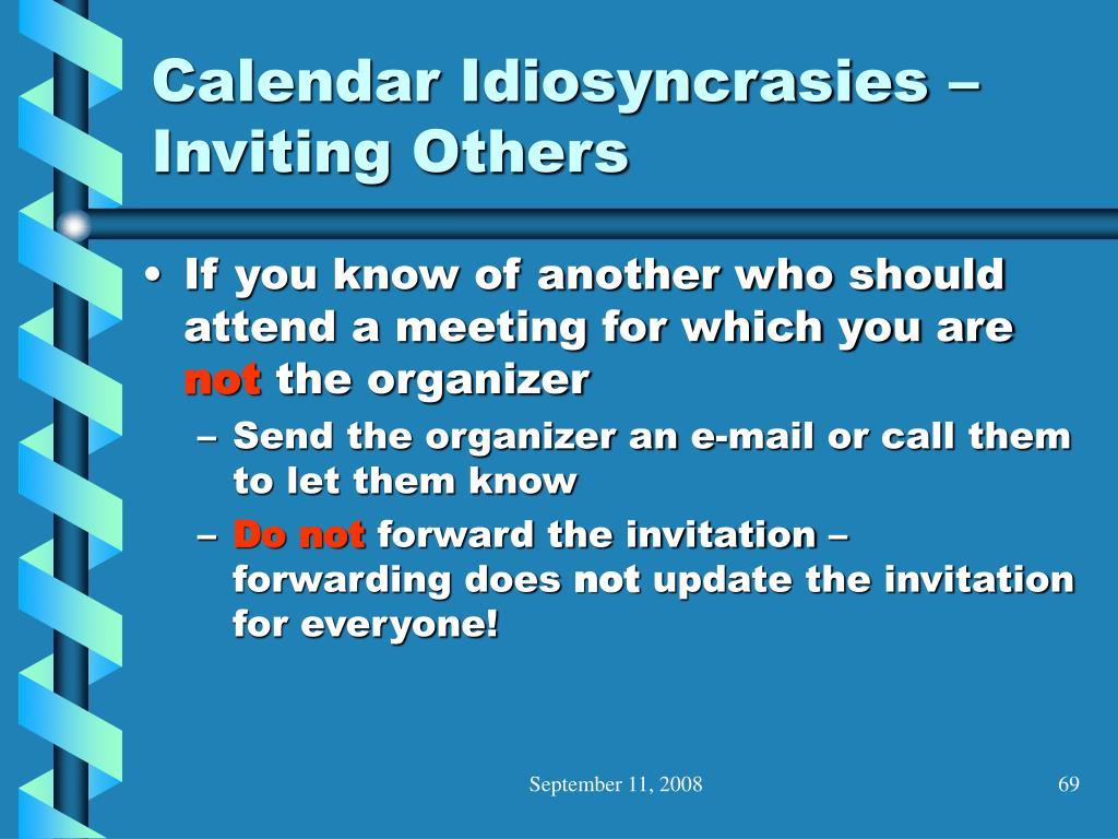 Calendar Idiosyncrasies – Inviting Others