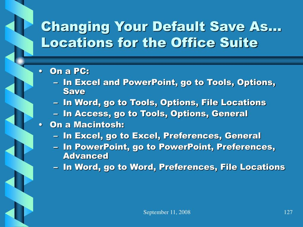 Changing Your Default Save As… Locations for the Office Suite