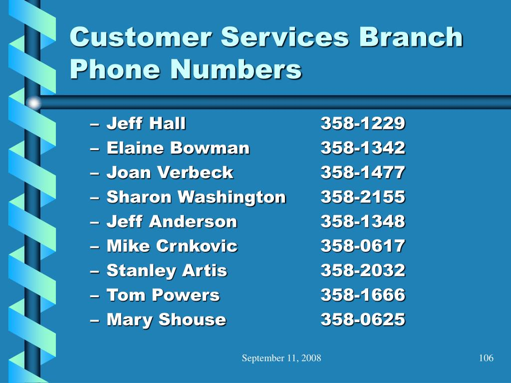 Customer Services Branch