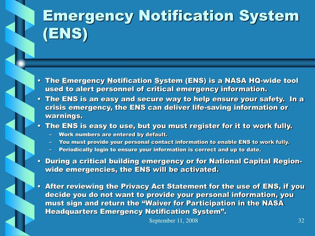 Emergency Notification System (ENS)