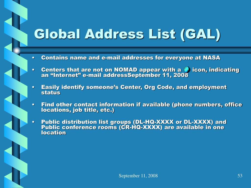 Global Address List (GAL)