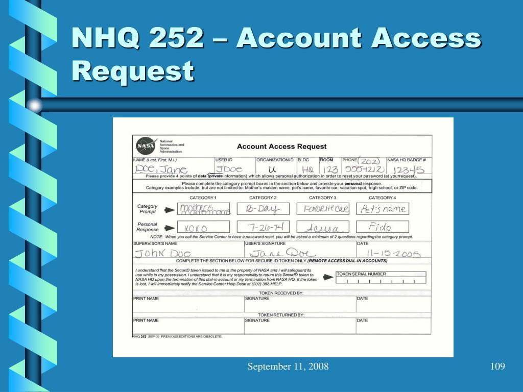 NHQ 252 – Account Access Request