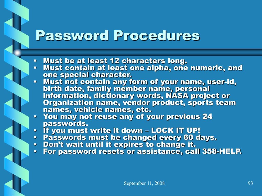 Password Procedures