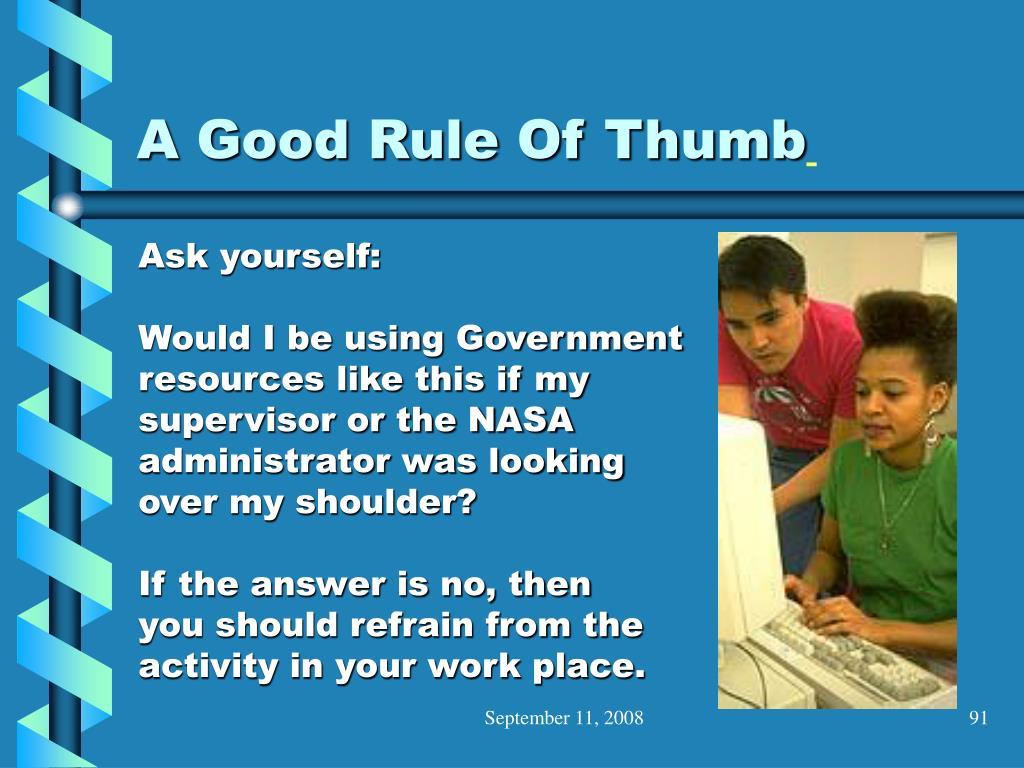 A Good Rule Of Thumb