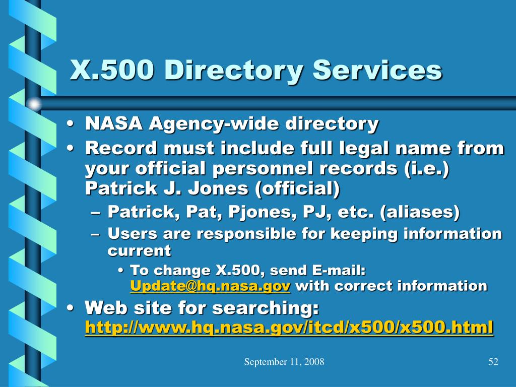 X.500 Directory Services