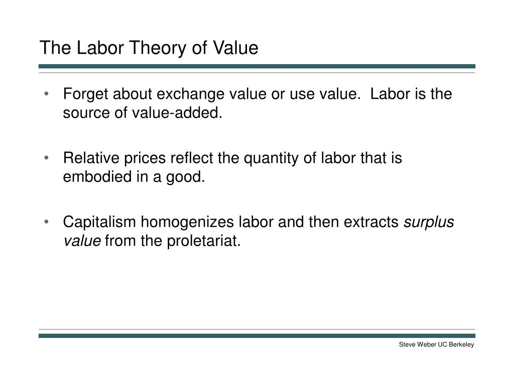 The Labor Theory of Value