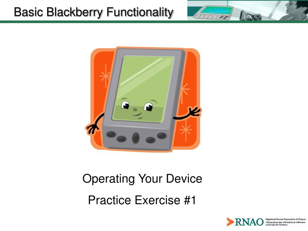 Basic Blackberry Functionality