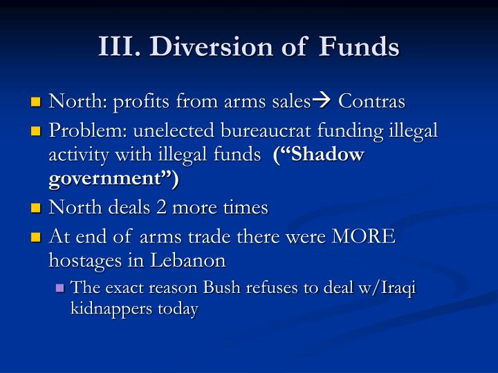 III. Diversion of Funds